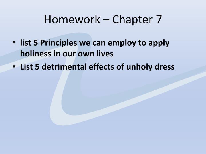 Homework – Chapter 7