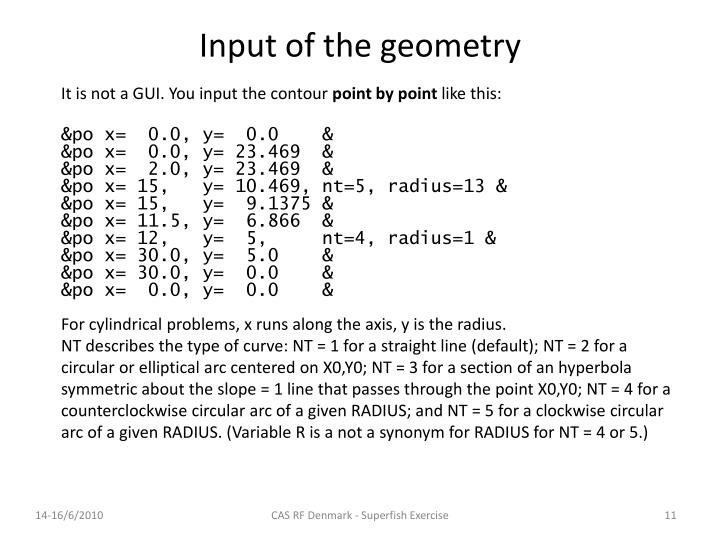 Input of the geometry