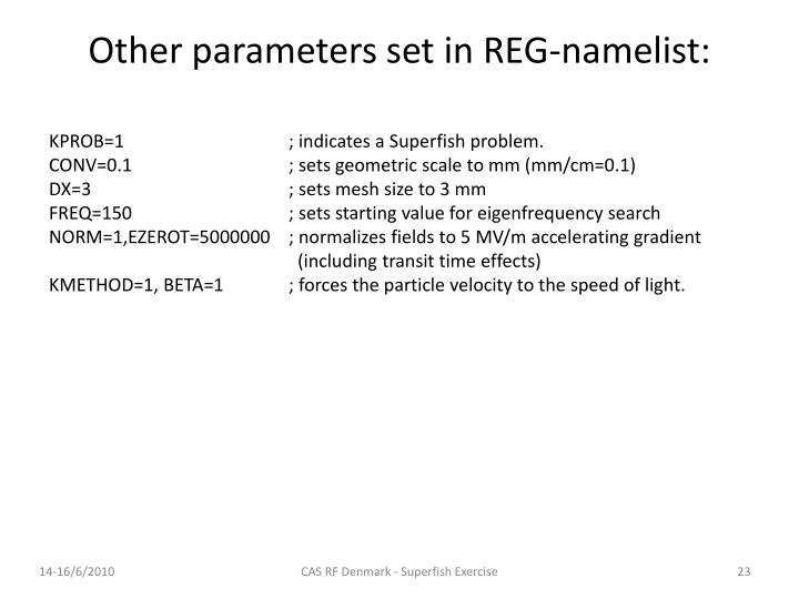 Other parameters set in REG-