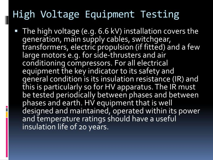 High Voltage Equipment Testing