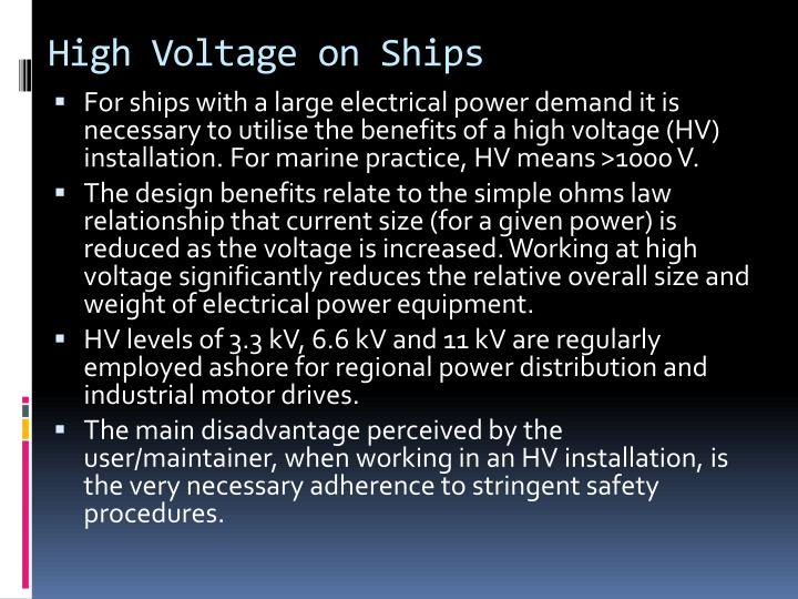 High voltage on ships
