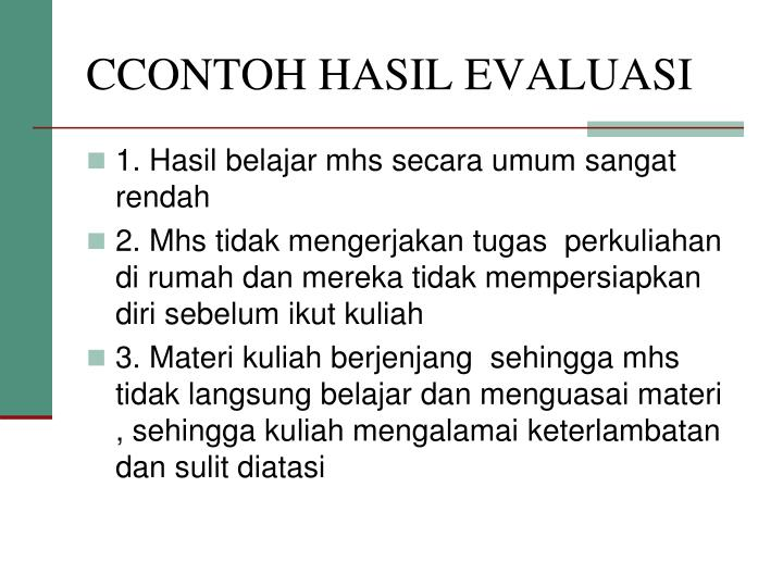 CCONTOH HASIL EVALUASI