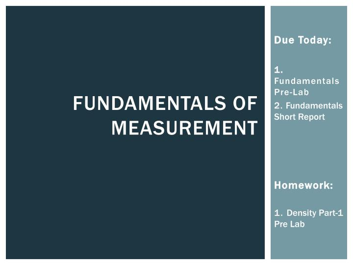 Fundamentals of measurement