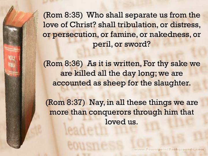 (Rom 8:35)  Who shall separate us from the love of Christ? shall tribulation, or distress, or persecution, or famine, or nakedness, or peril, or sword?