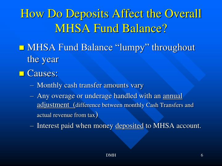 How Do Deposits Affect the Overall MHSA Fund Balance?