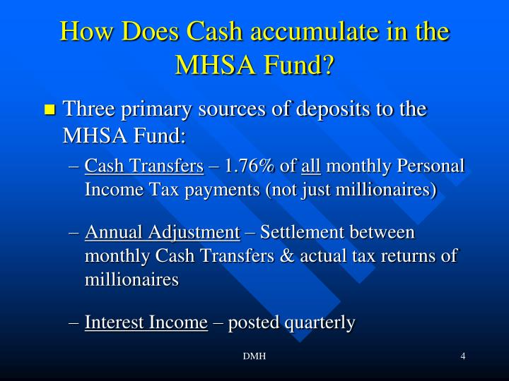 How Does Cash accumulate in the MHSA Fund?