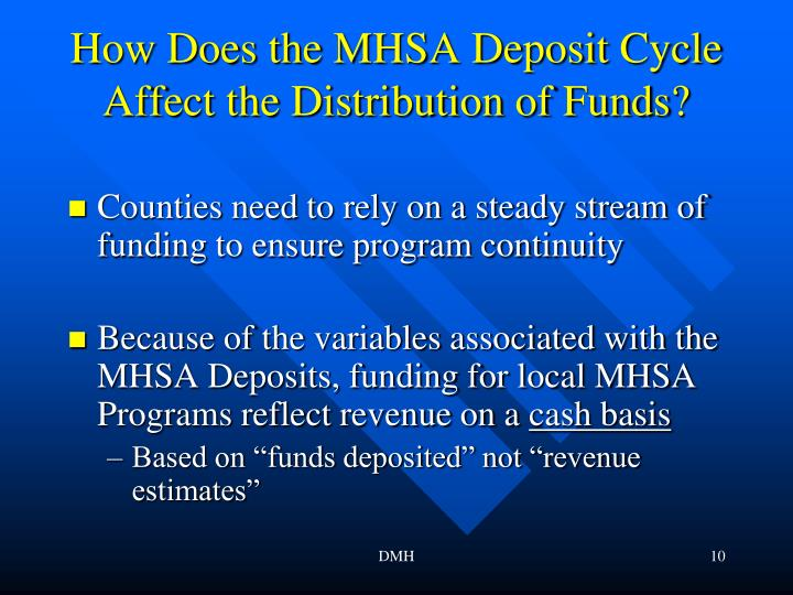 How Does the MHSA Deposit Cycle Affect the Distribution of Funds?