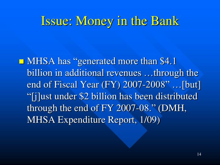 Issue: Money in the Bank