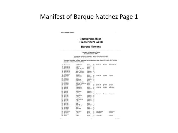 Manifest of Barque Natchez Page 1