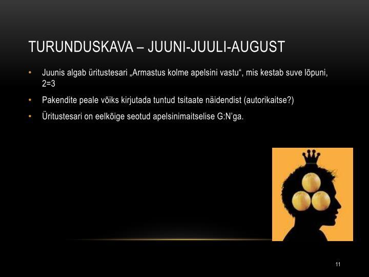 Turunduskava – Juuni-juuli-august
