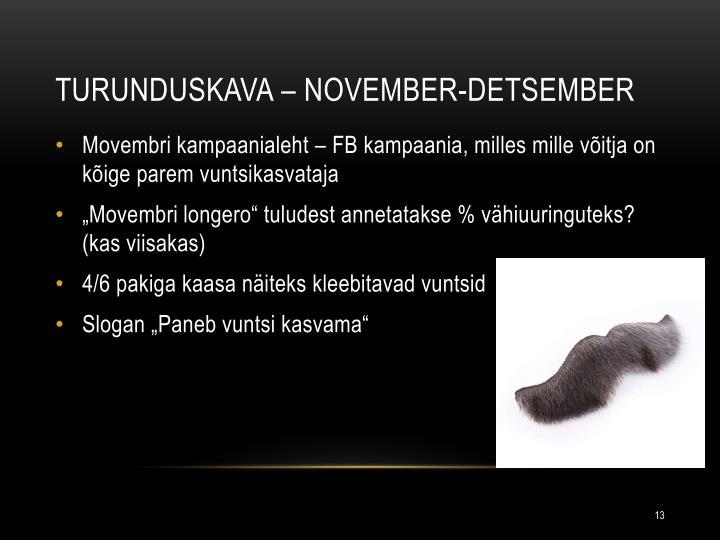 Turunduskava – November-detsember