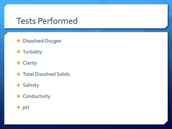 Tests Performed