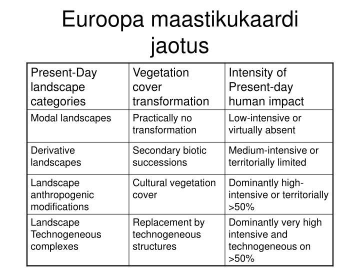Euroopa maastikukaardi jaotus