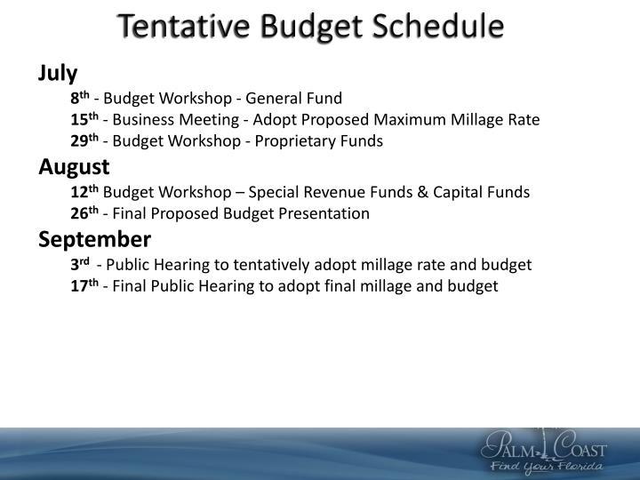 Tentative Budget Schedule