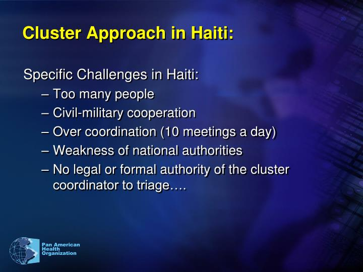 Cluster Approach in Haiti: