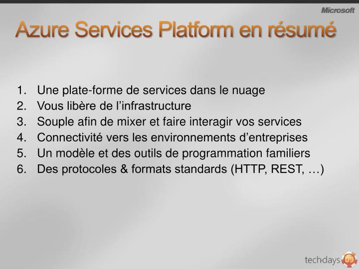 Azure Services Platform en résumé