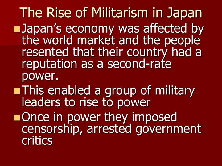 Rise of militarism in japan essay