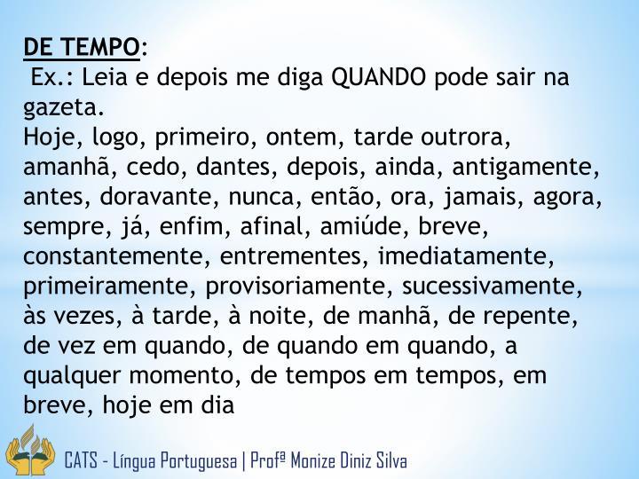 DE TEMPO