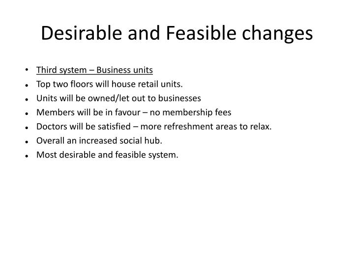 Desirable and Feasible changes