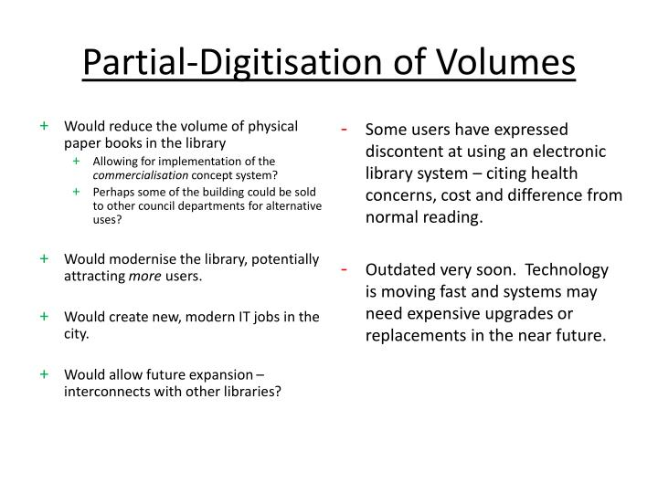 Partial-Digitisation of Volumes