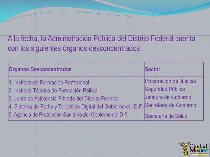 A la fecha, la Administración Pública del Distrito Federal cuenta con los siguientes órganos desconcentrados: