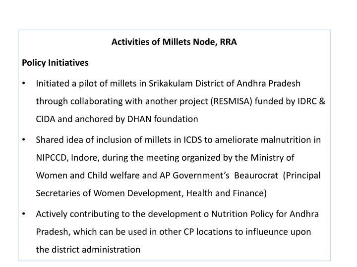 Activities of Millets Node, RRA