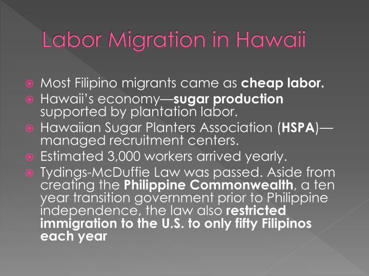 Labor Migration in Hawaii