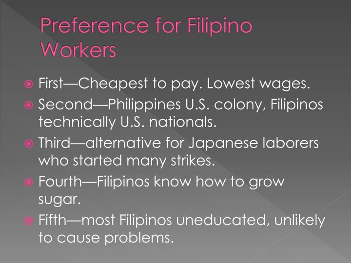 Preference for Filipino Workers