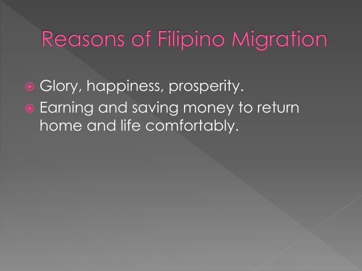 Reasons of Filipino Migration