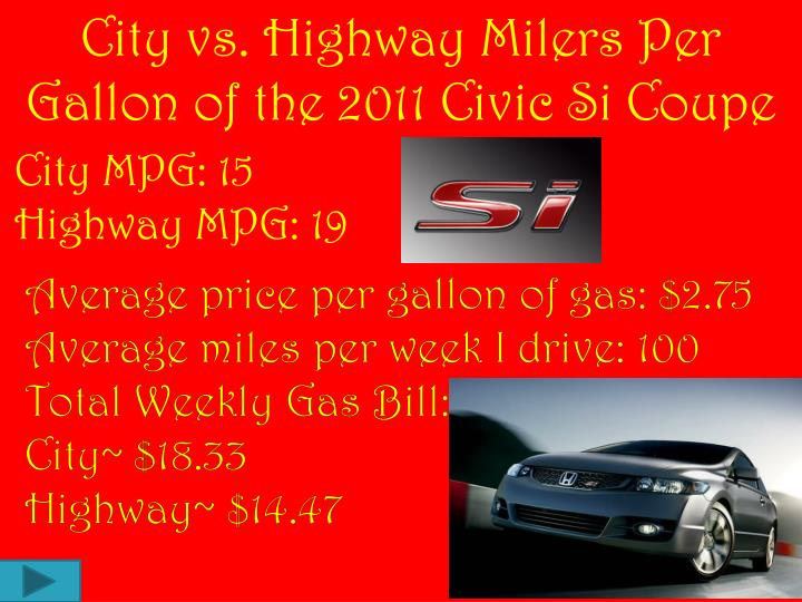 City vs. Highway Milers Per Gallon of the 2011 Civic Si Coupe