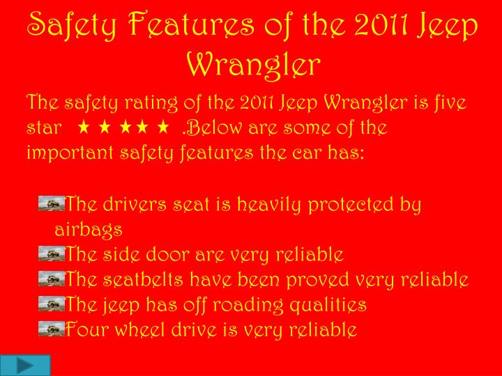 Safety Features of the 2011 Jeep Wrangler