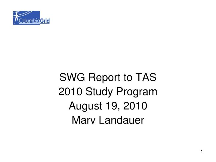 SWG Report to TAS