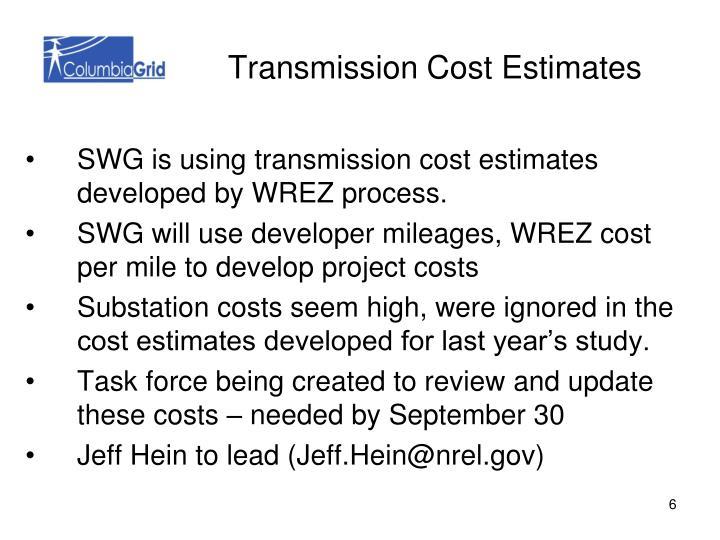 Transmission Cost Estimates