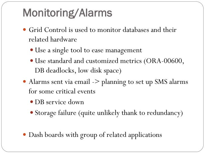 Monitoring/Alarms