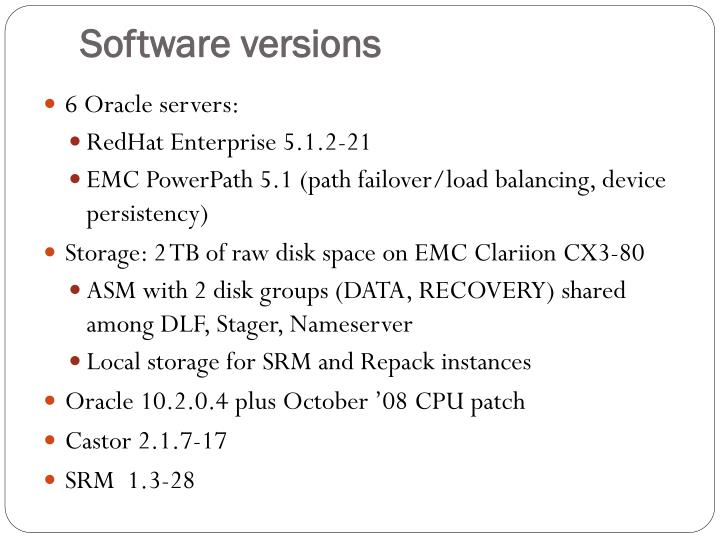 Software versions