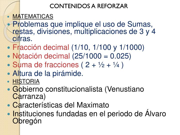 CONTENIDOS A REFORZAR