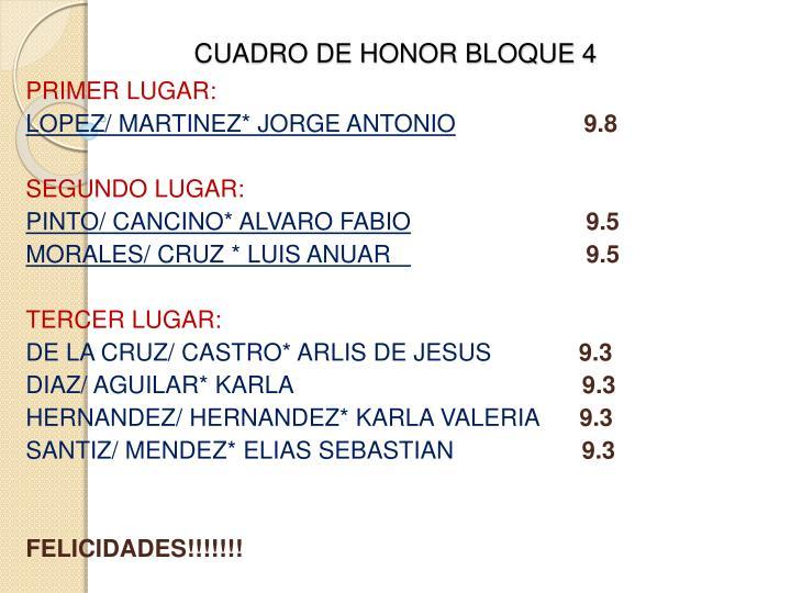 CUADRO DE HONOR BLOQUE
