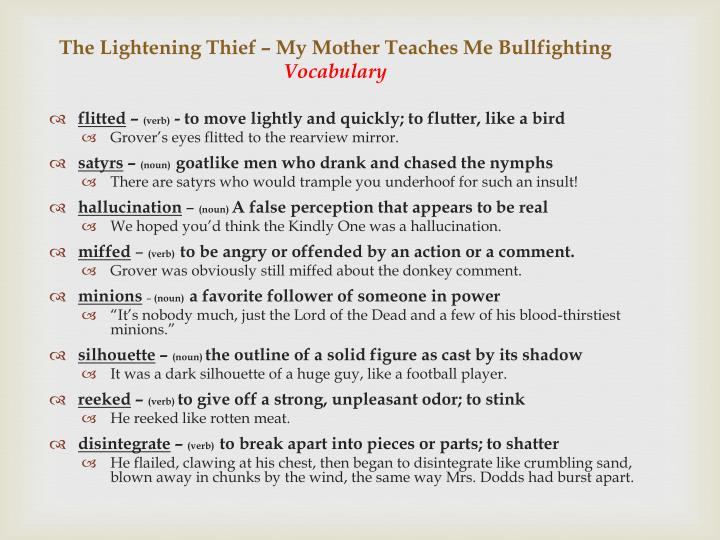 The lightening thief my mother teaches me bullfighting vocabulary