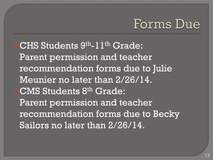 Forms Due