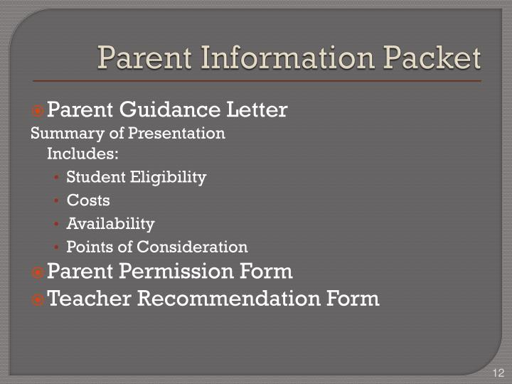 Parent Information Packet