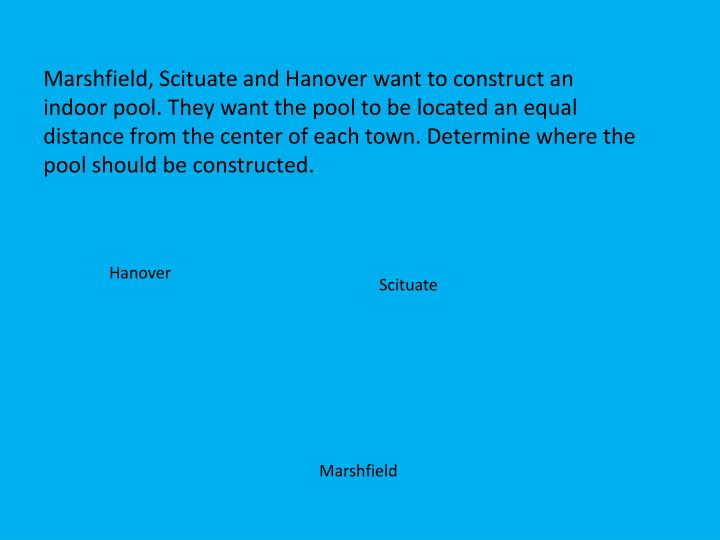 Marshfield, Scituate and Hanover want to construct an indoor pool. They want the pool to be located an equal distance from the center of each town. Determine where the pool should be constructed.