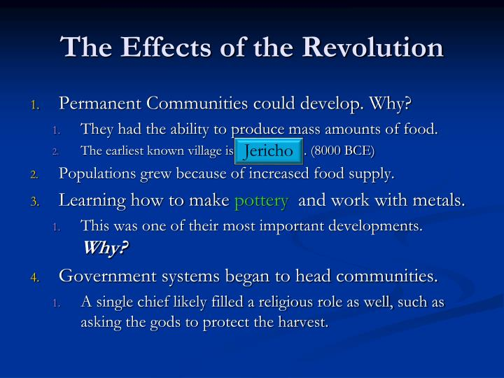 The Effects of the Revolution
