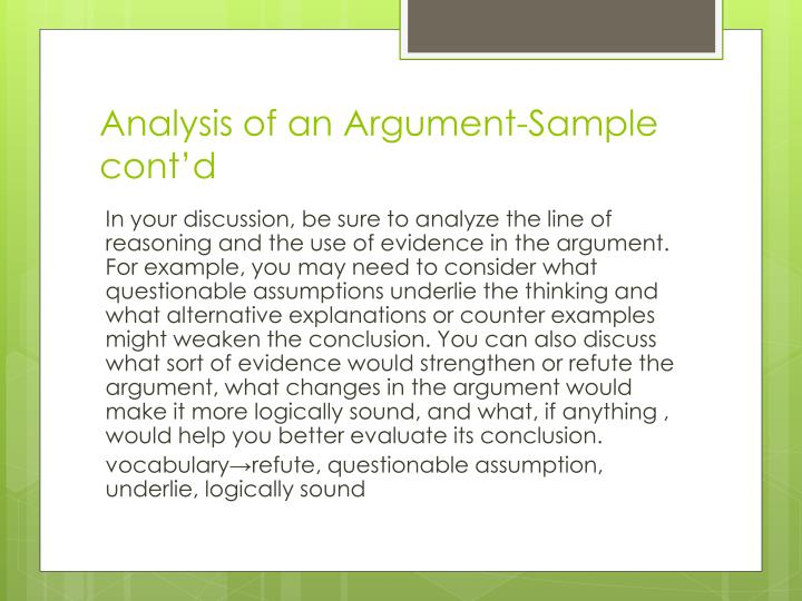 Analysis of an Argument-Sample cont'd
