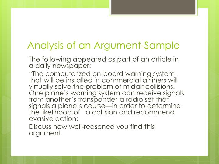 Analysis of an Argument-Sample