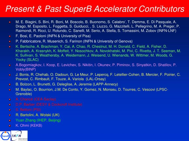 Present past superb accelerator contributors