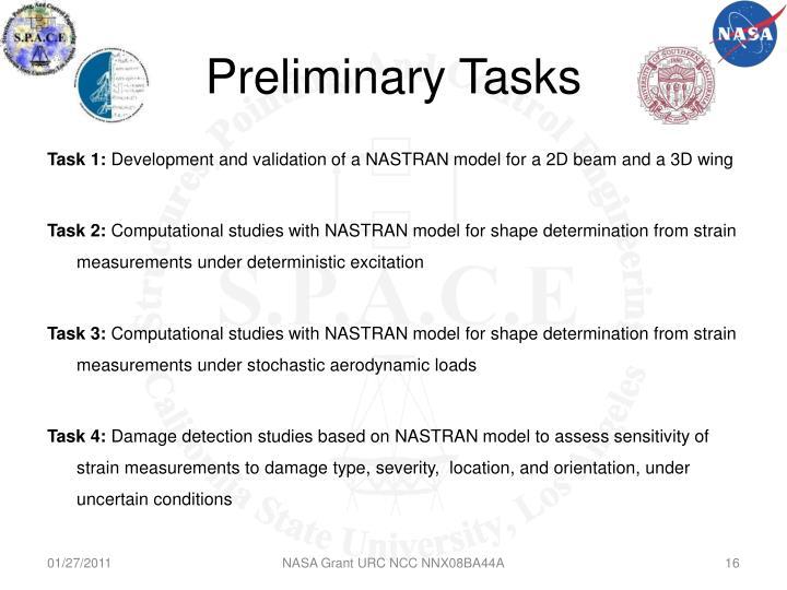 Preliminary Tasks
