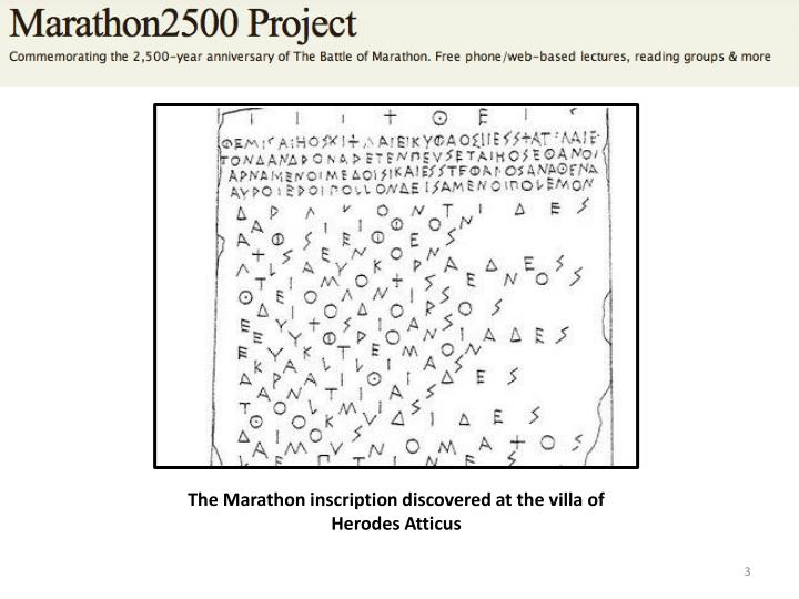 The Marathon inscription discovered at the villa of