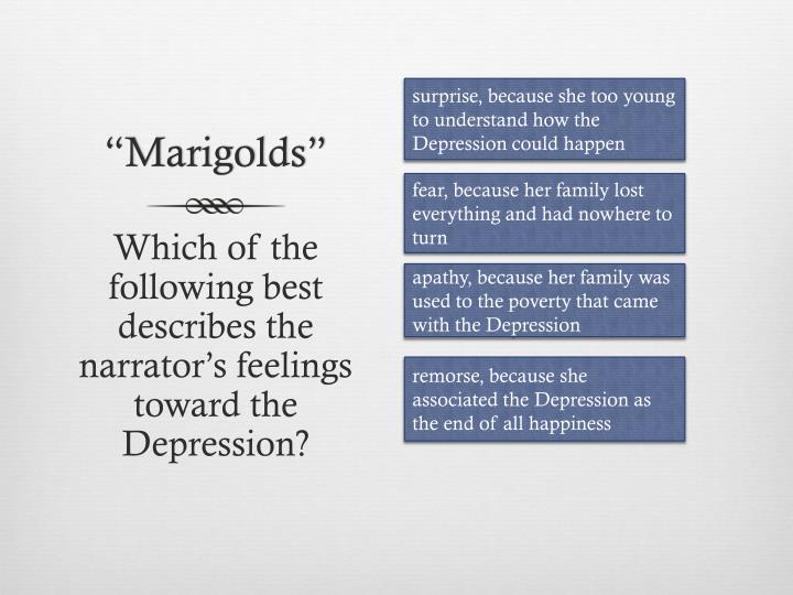 surprise, because she too young to understand how the Depression could happen