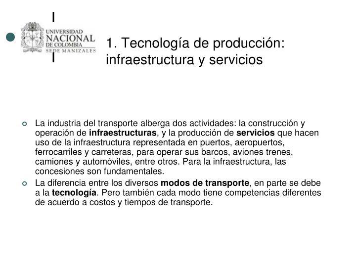 1. Tecnología de producción: infraestructura y servicios