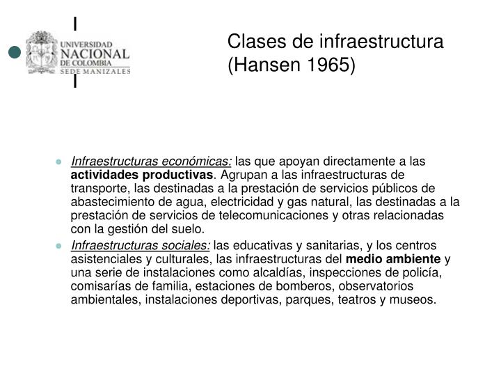 Clases de infraestructura